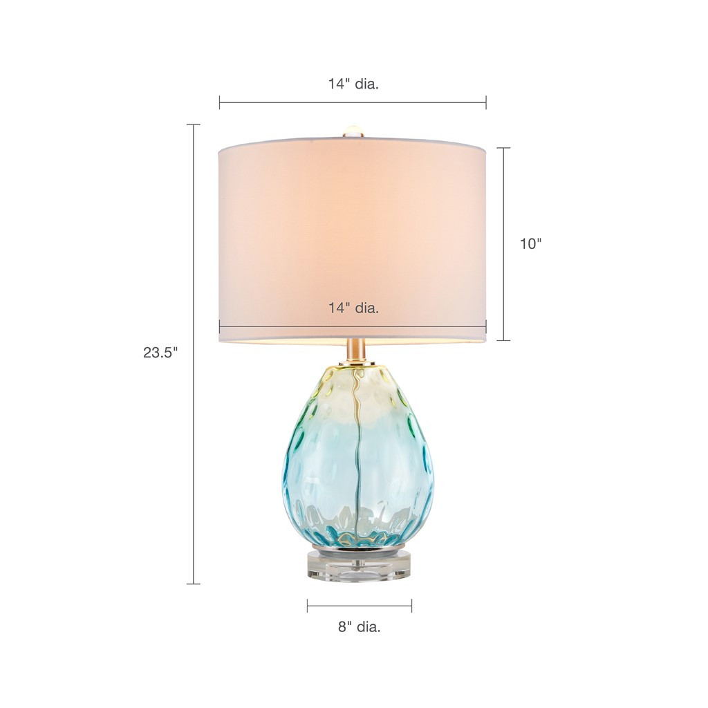 Aurora Sea Aqua Glass Lamp measurements