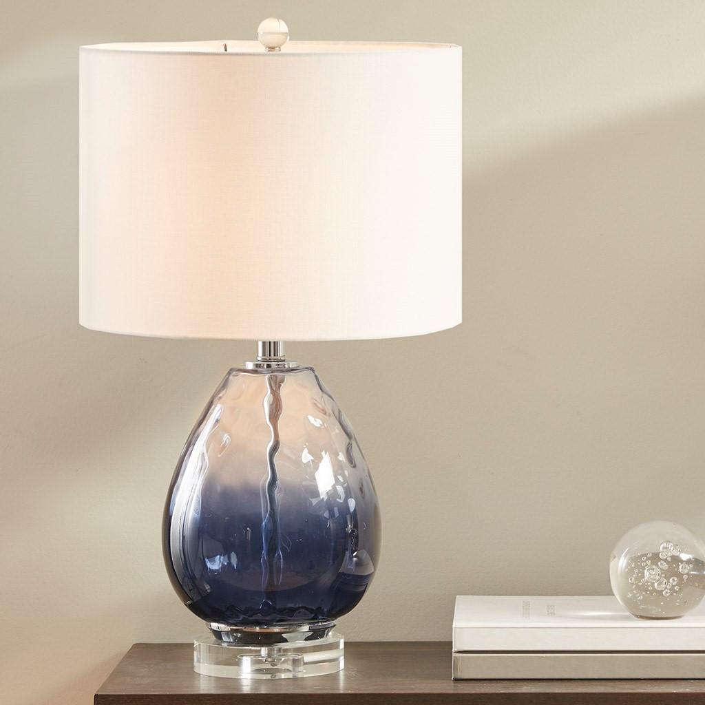 Aurora Sea Indigo Glass Lamp light on room view