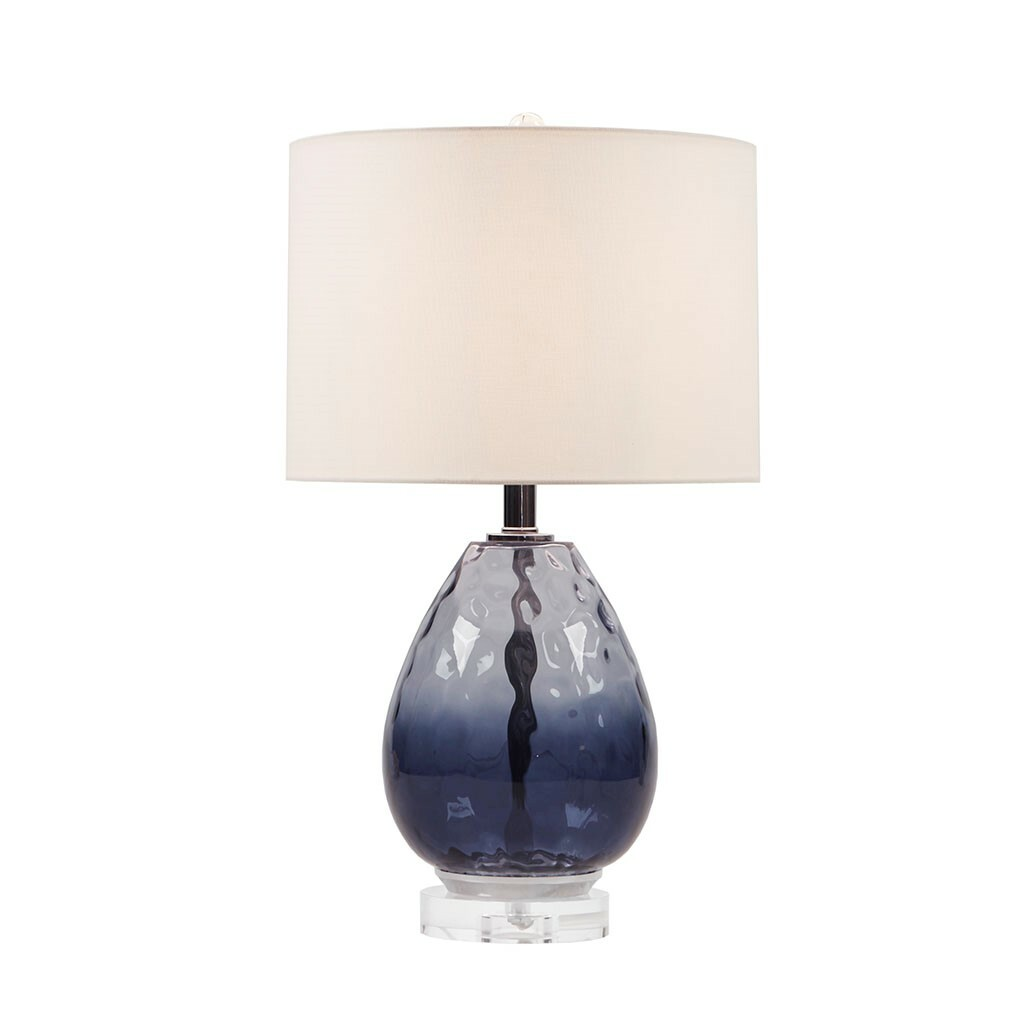 Aurora Sea Indigo Glass Lamp light on