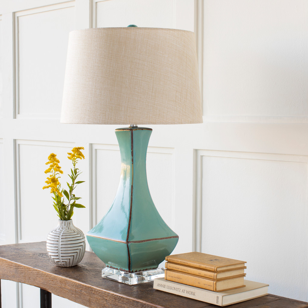 Bell Haven Teal Ceramic Table Lamp room view