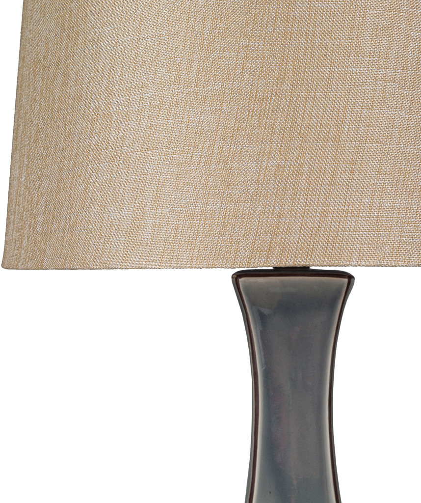 Bell Haven Sea Blue Ceramic Table Lamp shade close up