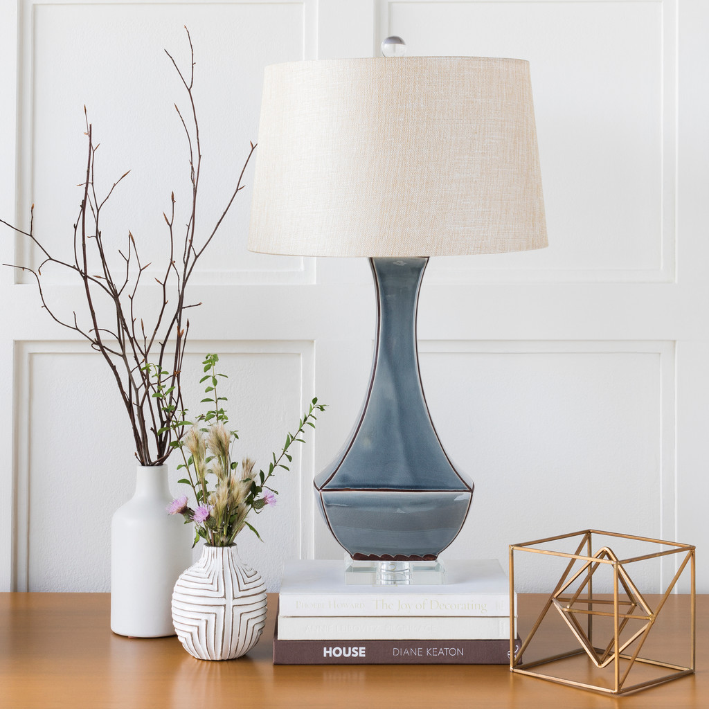 Bell Haven Sea Blue Ceramic Table Lamp room view 2