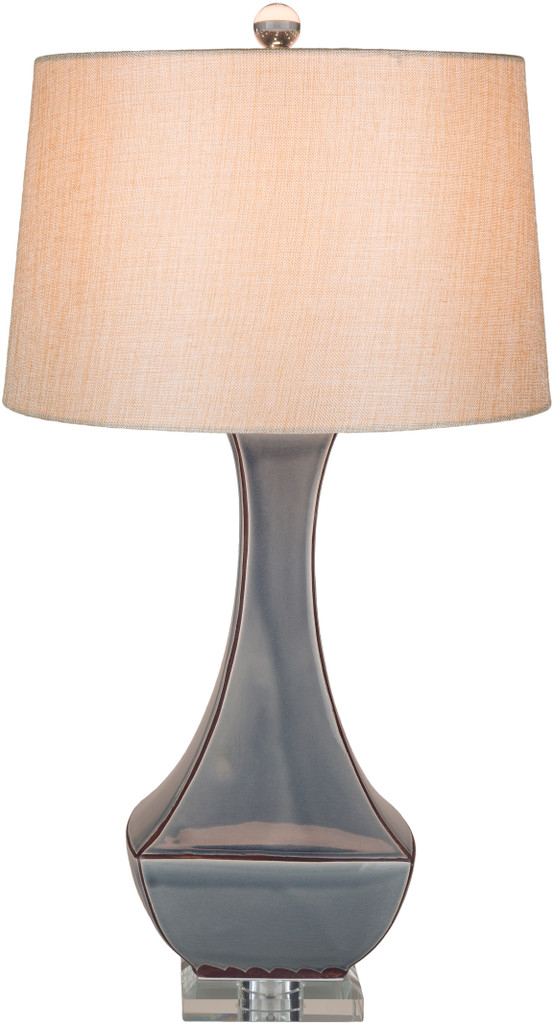 Bell Haven Sea Blue Ceramic Table Lamp light on