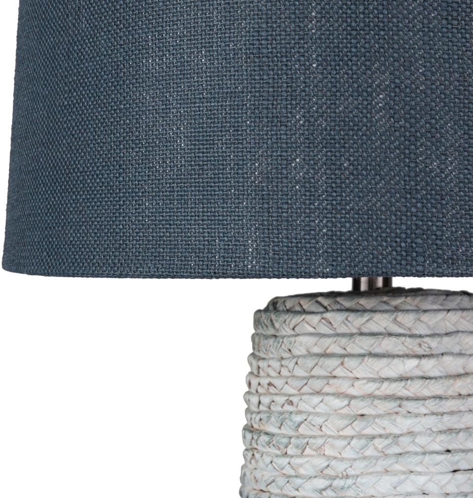Amalfi Blue Jute Wrapped Table Lamp close up shade