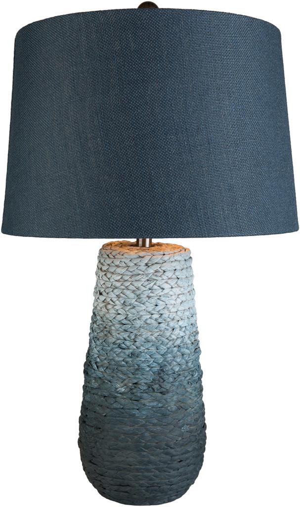 Amalfi Blue Jute Wrapped Table Lamp light on
