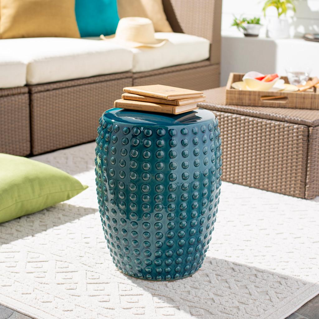 Delmar Teal Ceramic Garden Stool room view