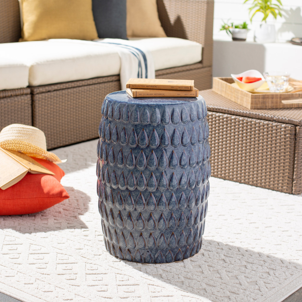 Blackwell Artisan Blue Ceramic Garden Stool room view