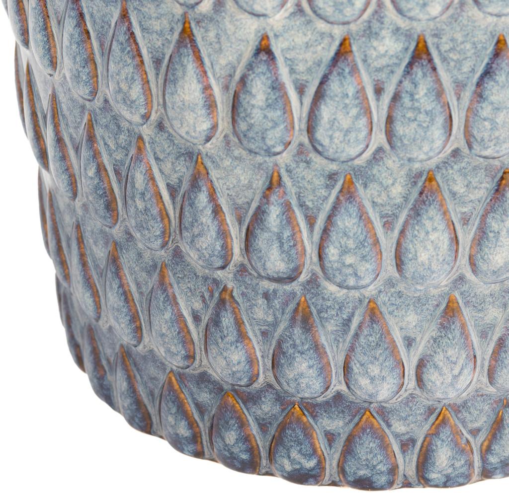 Blackwell Artisan Blue Ceramic Garden Stool bottom close up