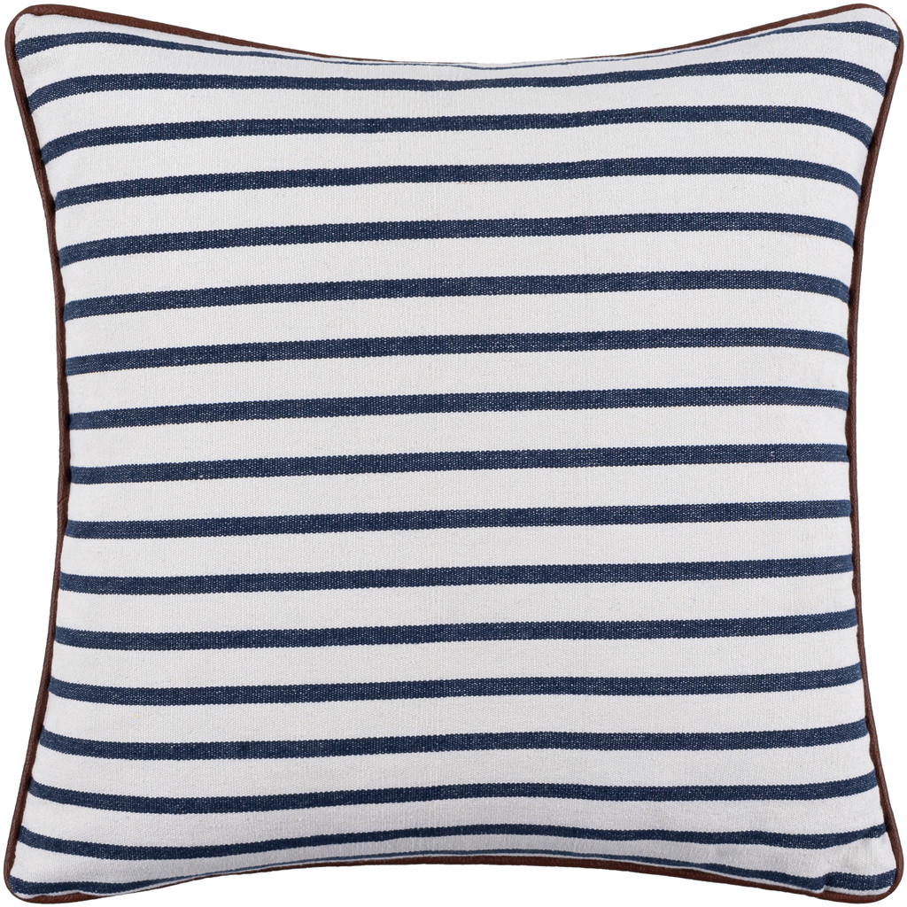 Charlize Nautical Navy Striped 22  x 22 Pillow