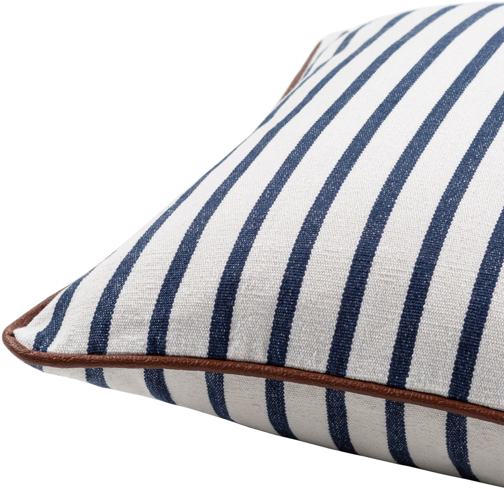 Charlize Nautical Navy Striped 22 x 22 Pillow side view
