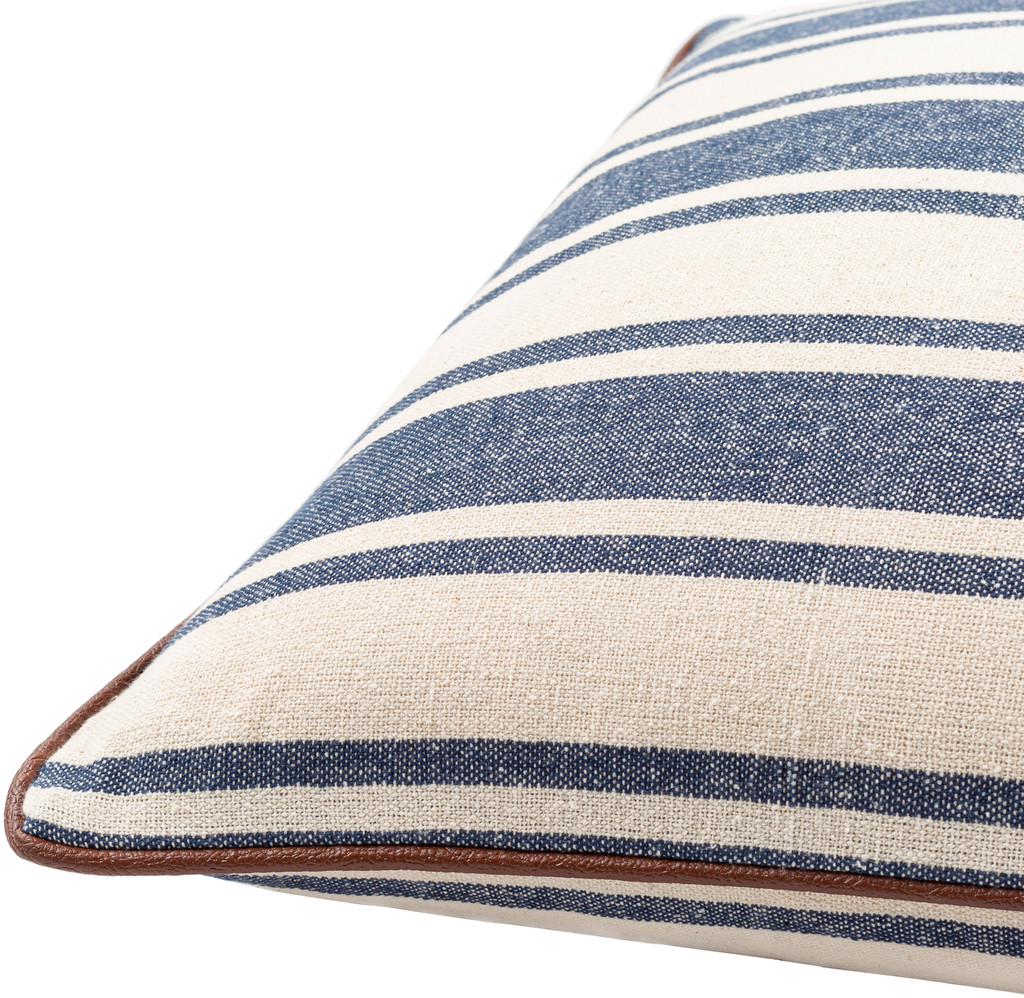 Charlize Denim Ticking Striped 18 x 18 Pillow side view