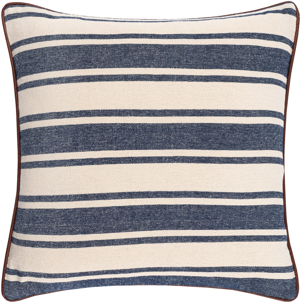 Charlize Denim Ticking Striped 18 x 18 Pillow
