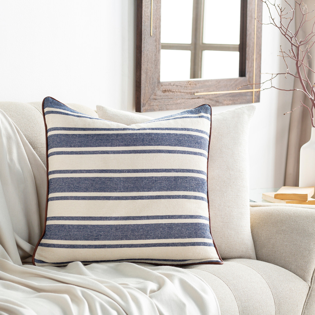 Charlize Denim Ticking Striped 18 x 18 Pillow room example