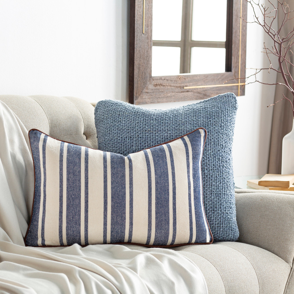 Charlize Denim Ticking Striped 14 x 22 Pillow room example