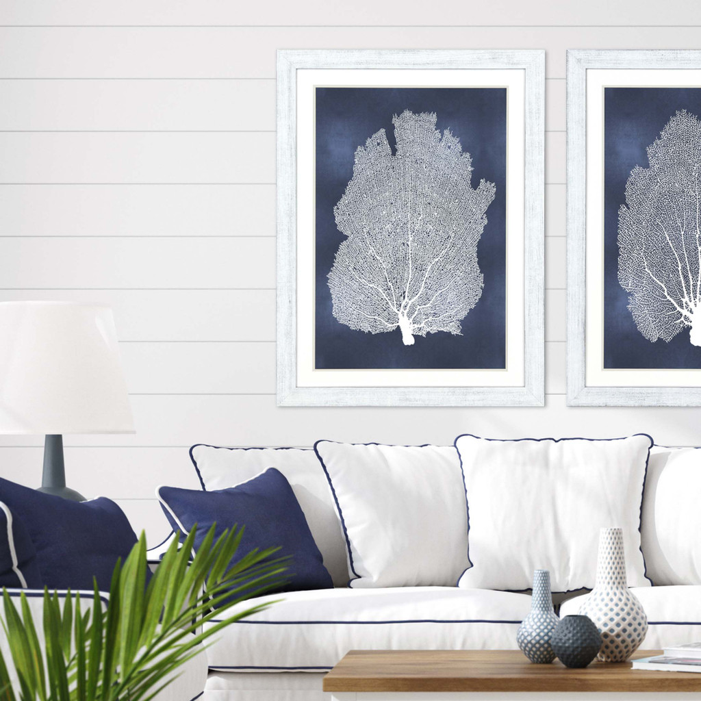 Sea Fan on Blue I with White Frame room view with Sea Fan on Blue II