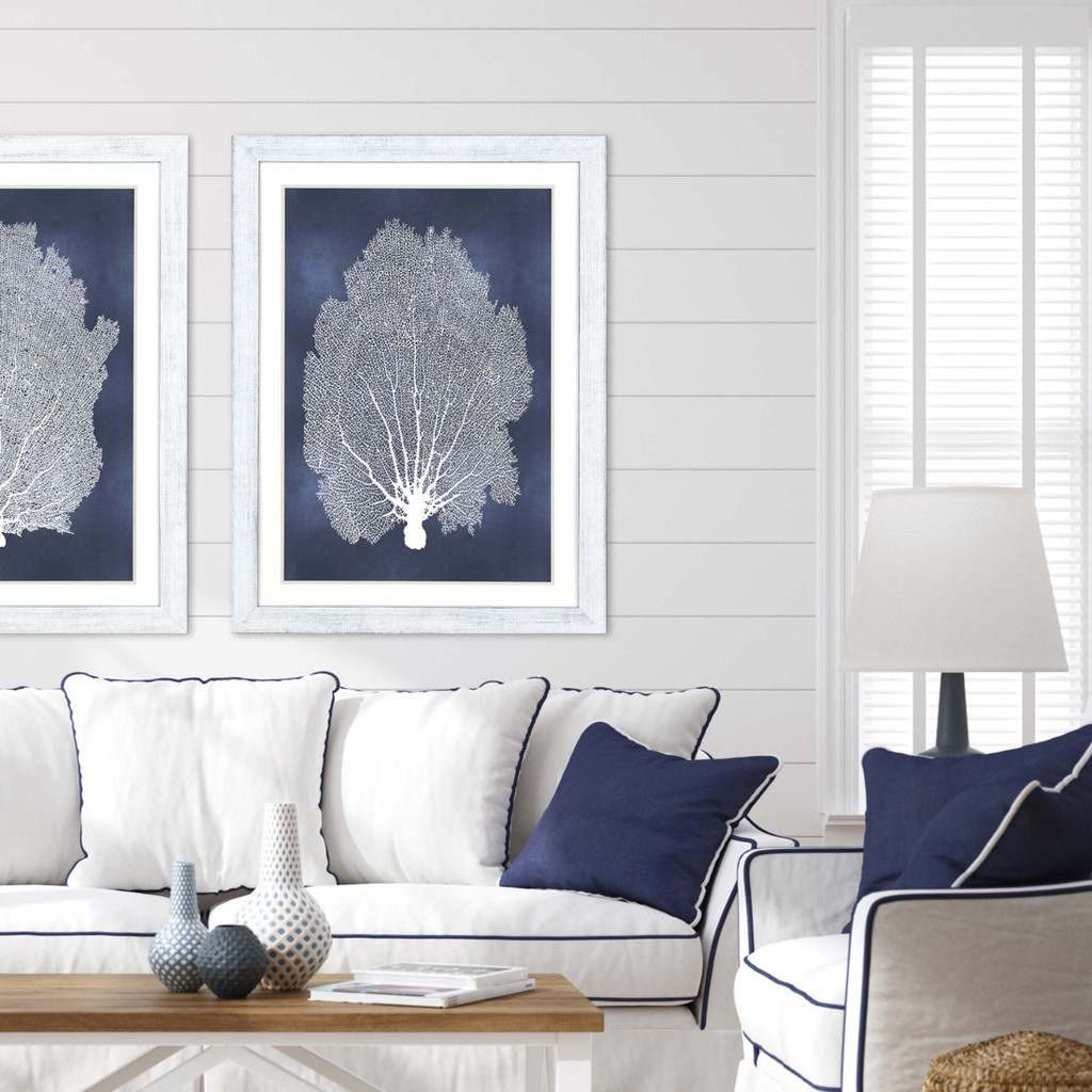 Sea Fan on Blue II with White Frame room view with Sea Fan on Blue I