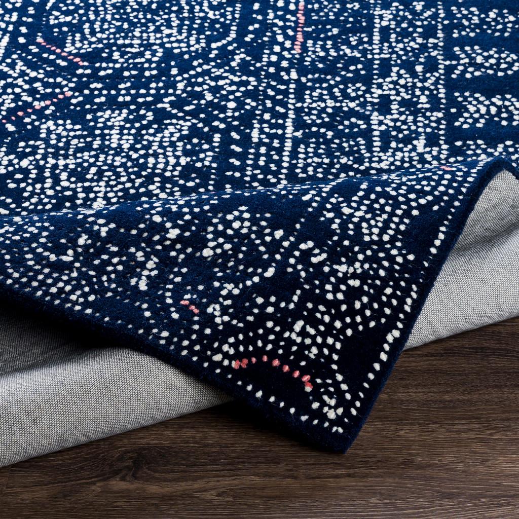Ionian Blue Hand-Tufted Wool Area Rug fold