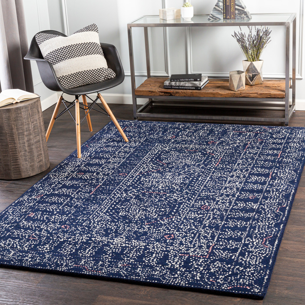 Ionian Blue Hand-Tufted Wool Area Rug room example