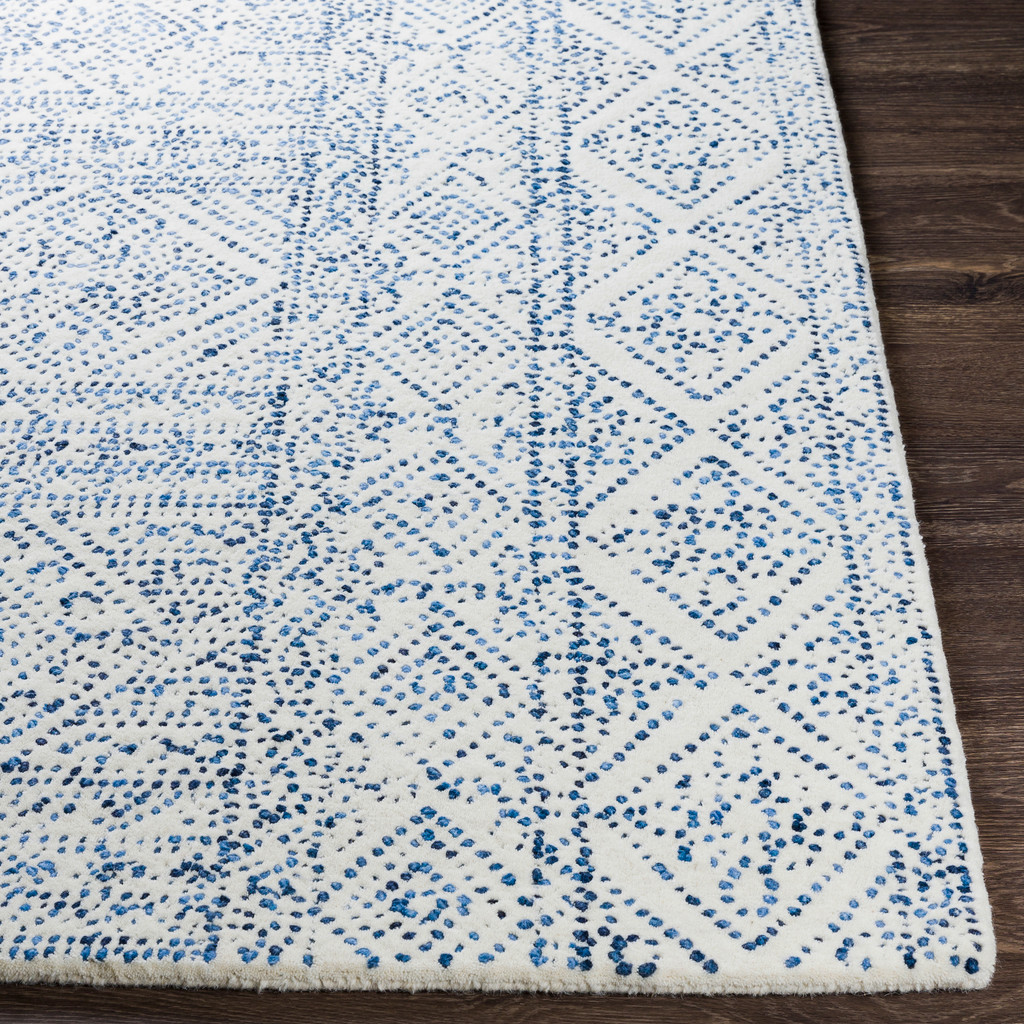Ionian Cream and Blue Hand-Tufted Wool Area Rug corner