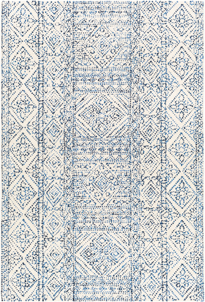 Ionian Cream and Blue Hand-Tufted Wool Area Rug