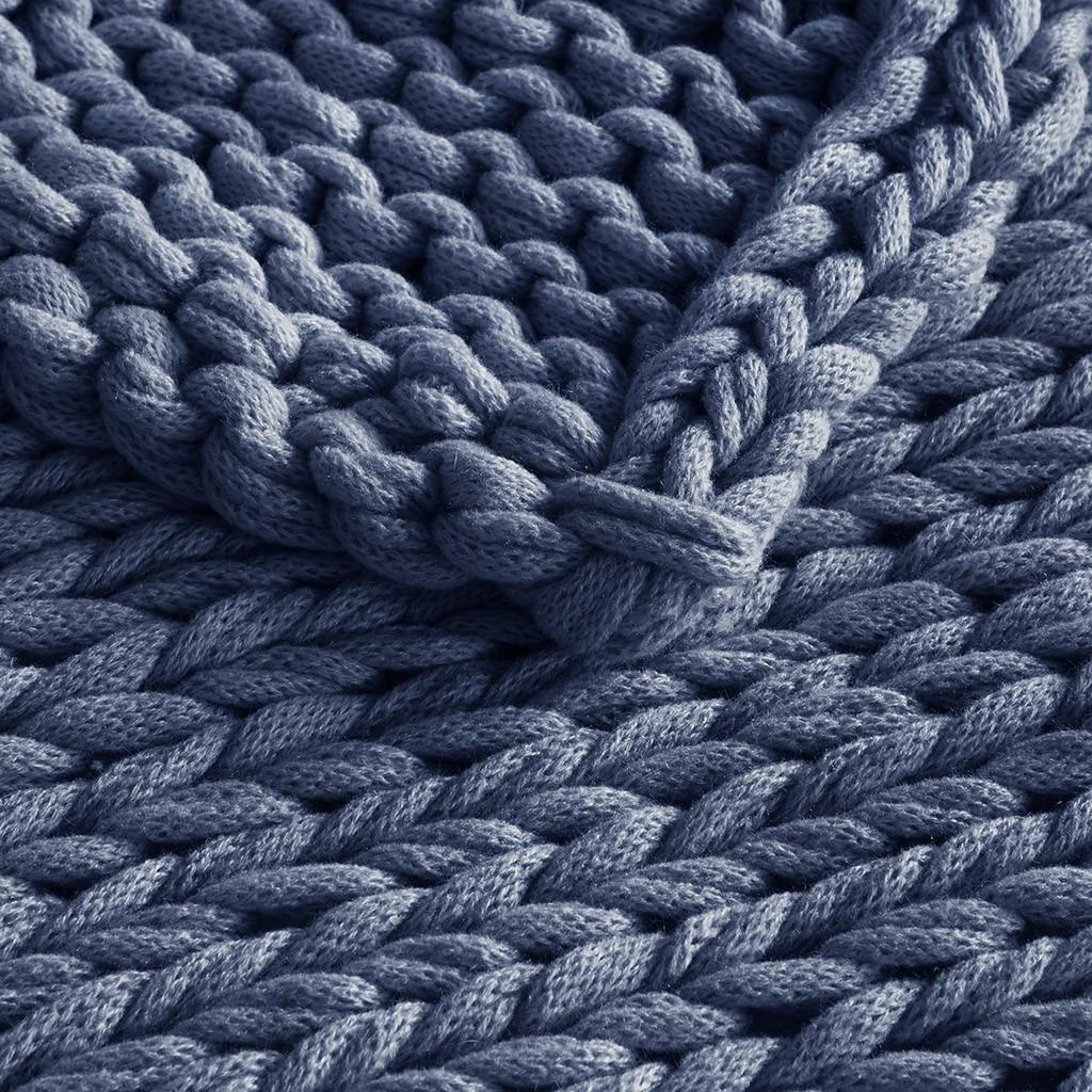 Chunky Handmade Double Knit Throw - Navy close up