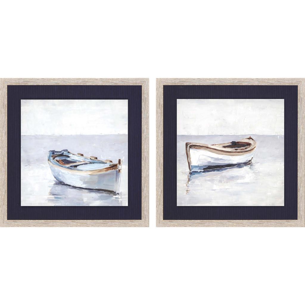 Reflected Horizon Set of Two Framed Nautical Prints