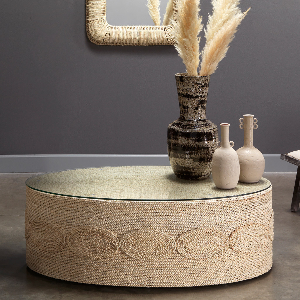 Barbados Oval Glass Topped Coffee Table room example