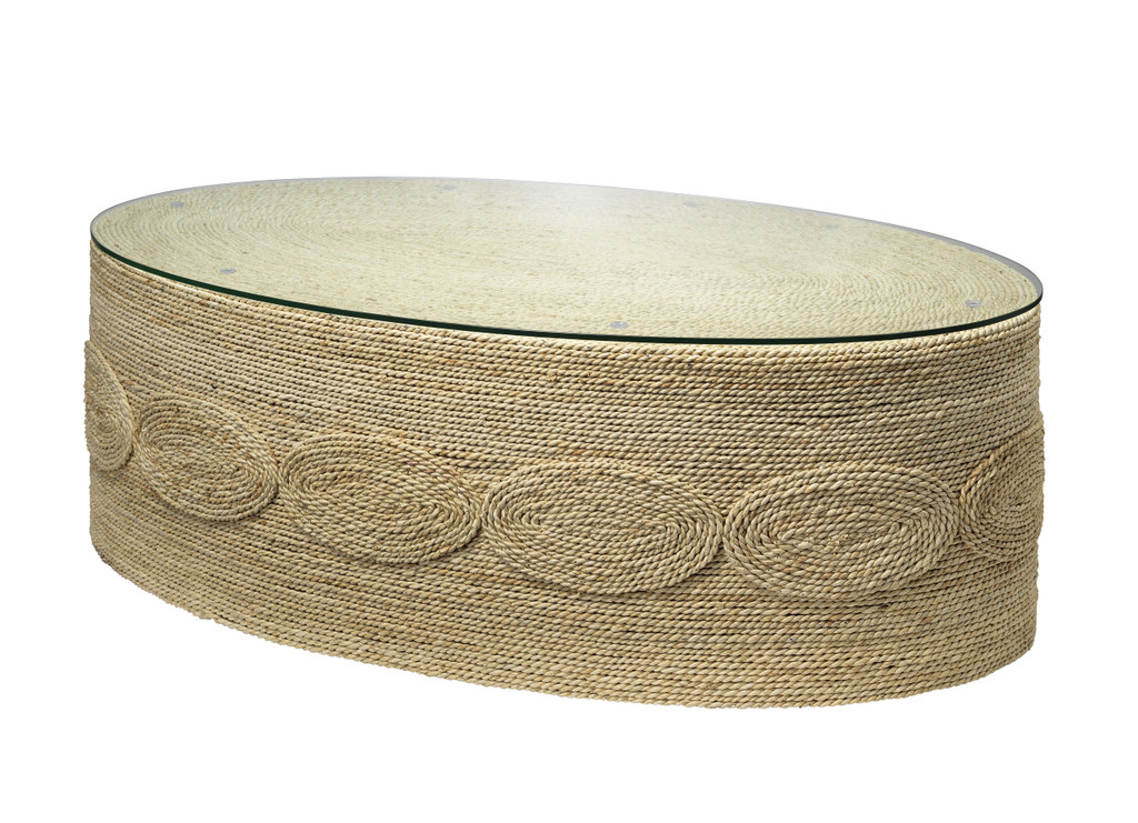 Barbados Oval Glass Topped Coffee Table