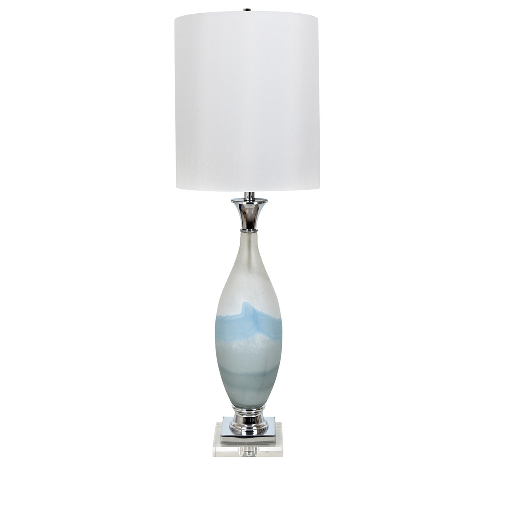Evelyn Blue Glass Swirl Table Lamp