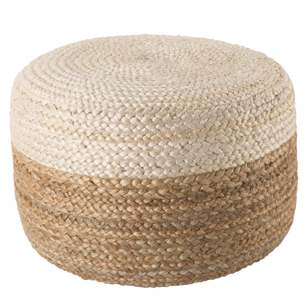 Oliana Ombre White Cylinder Pouf - Small view 2