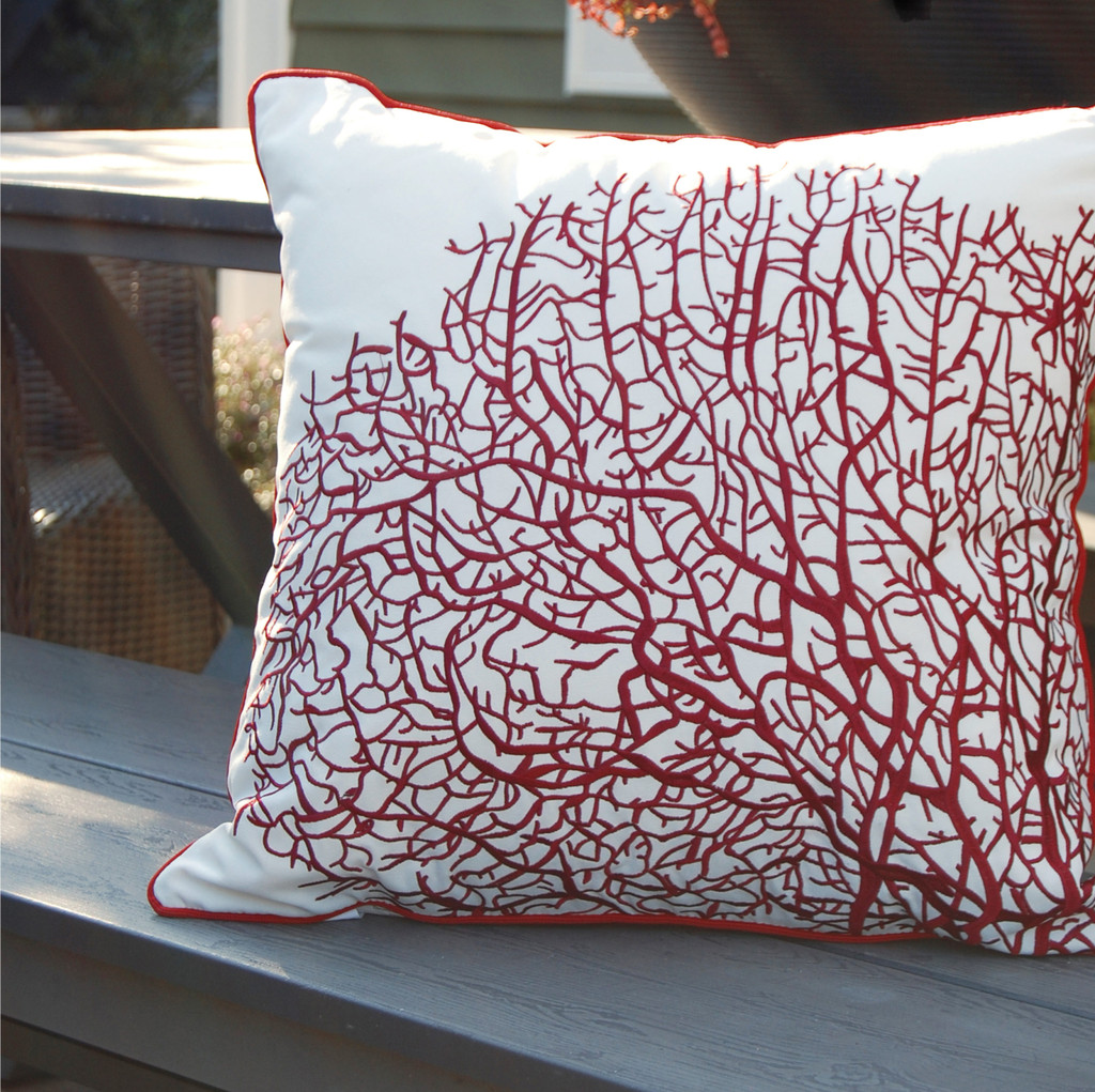 Fan Coral Red and White Embroidered Pillow outdoor view