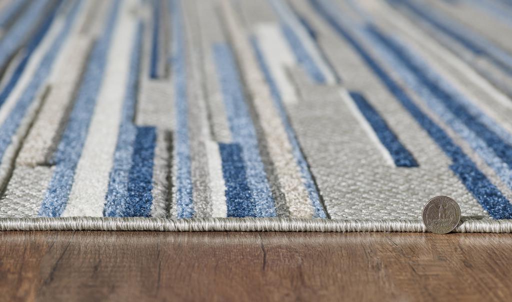 Blue Denni Striped Rug floor