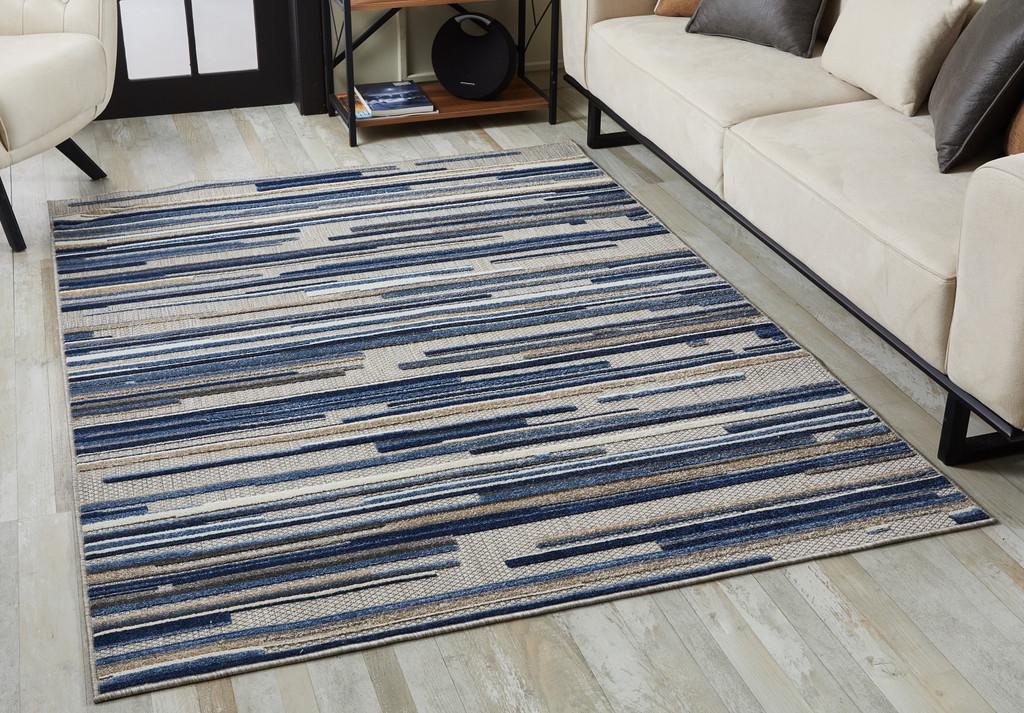 Blue Denni Striped Rug room view