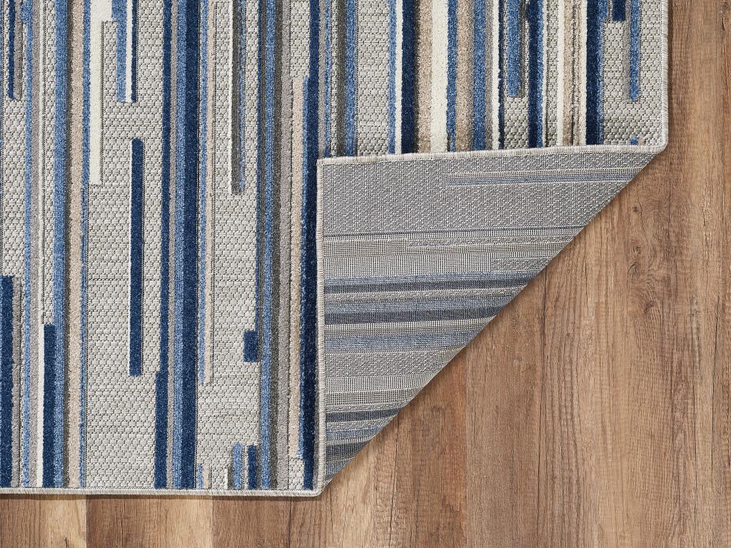 Blue Denni Striped Rug no backing