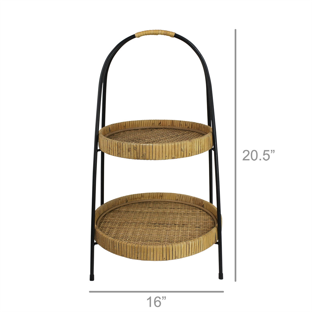 Cayman Rattan 2-Tier Serving Stand measurements