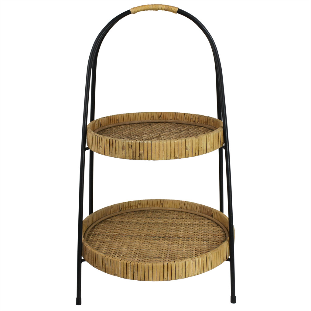 Cayman Rattan 2-Tier Serving Stand.2