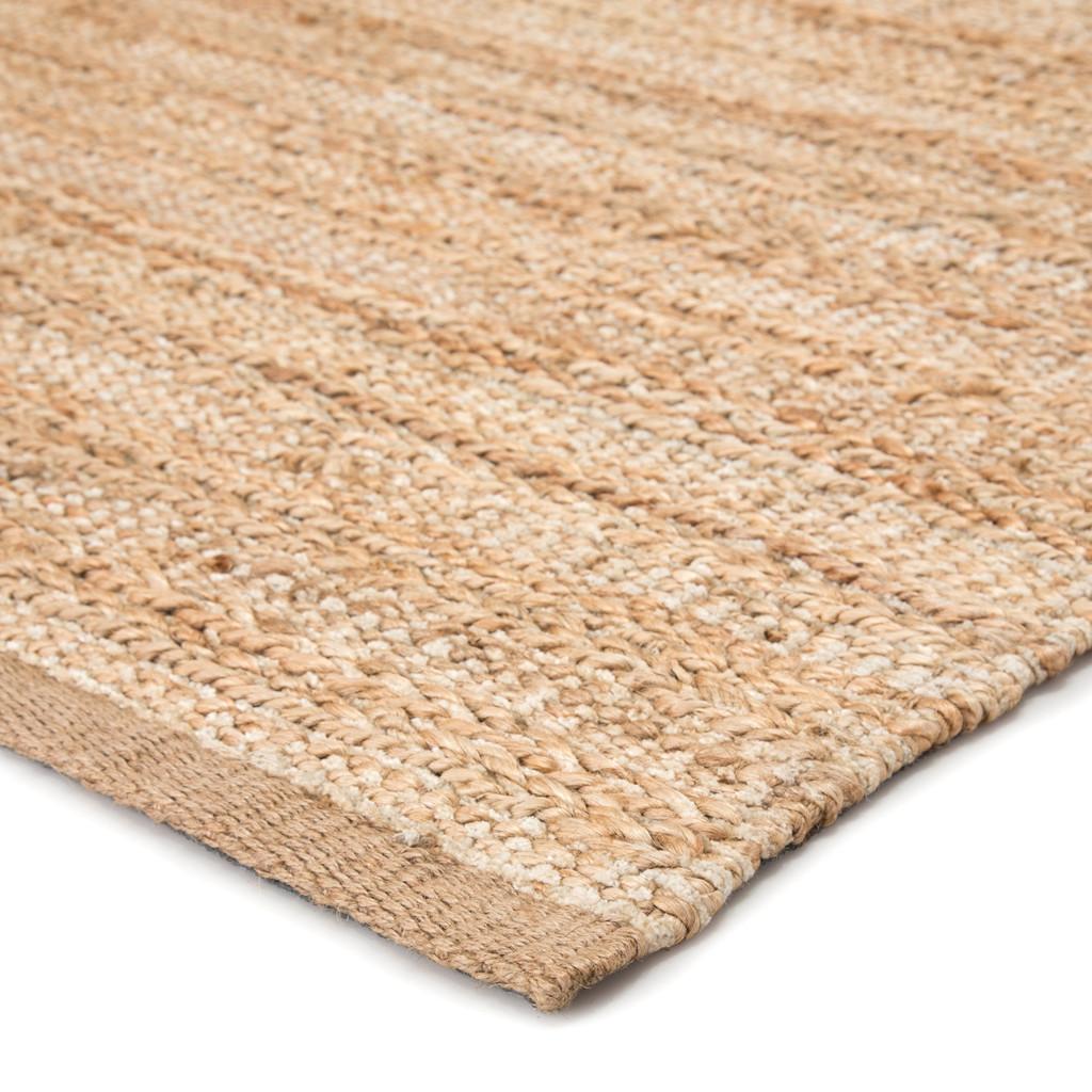 Canterbury Natural Solid Tan-White Woven Area Rug corner