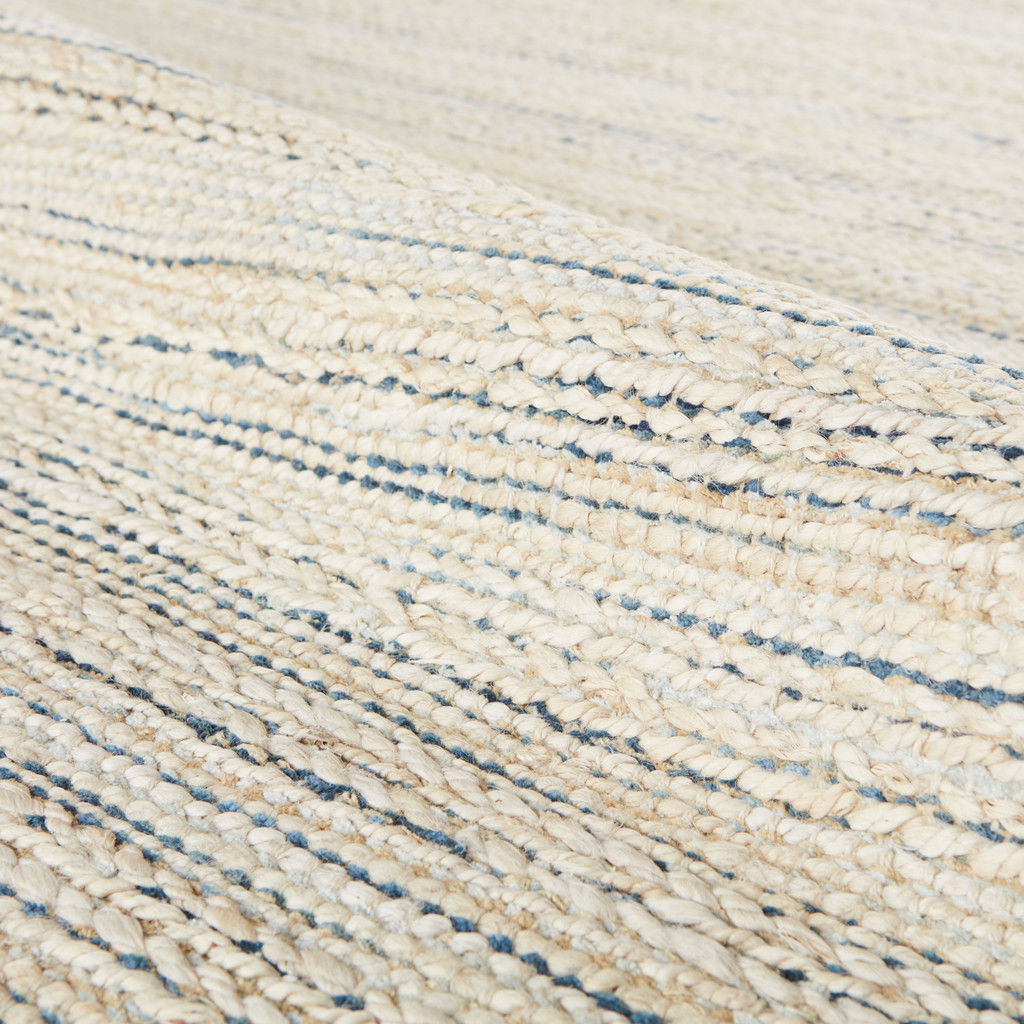Canterbury Natural White and Blue Stripe Woven Area Rug close up