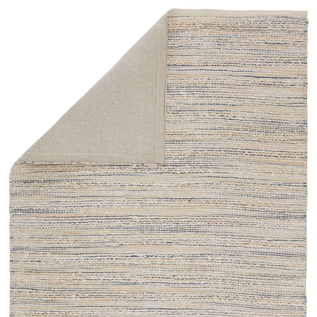 Canterbury Natural White and Blue Stripe Woven Area Rug backing