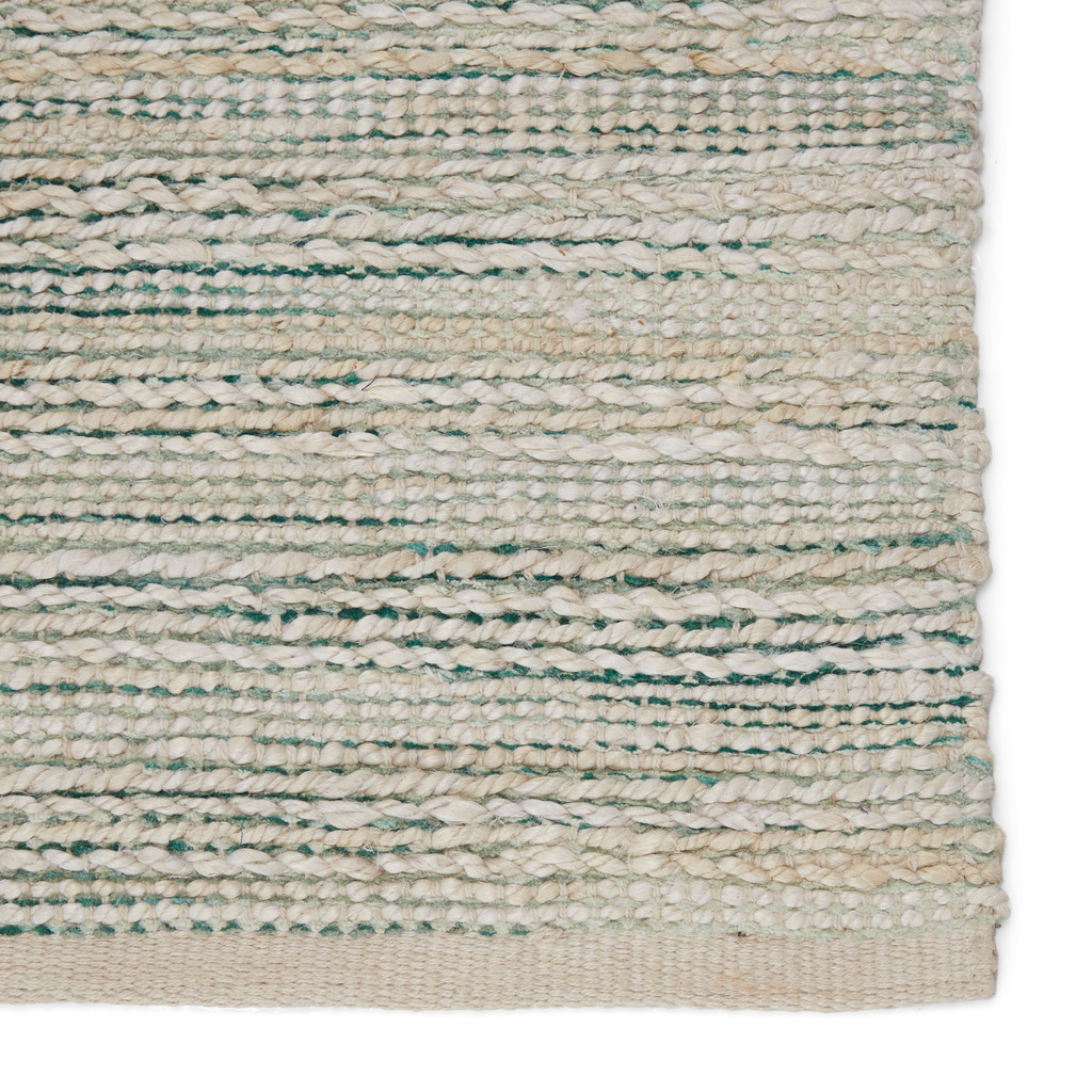 Canterbury Natural Seaglass Stripe Woven Area Rug corner 2