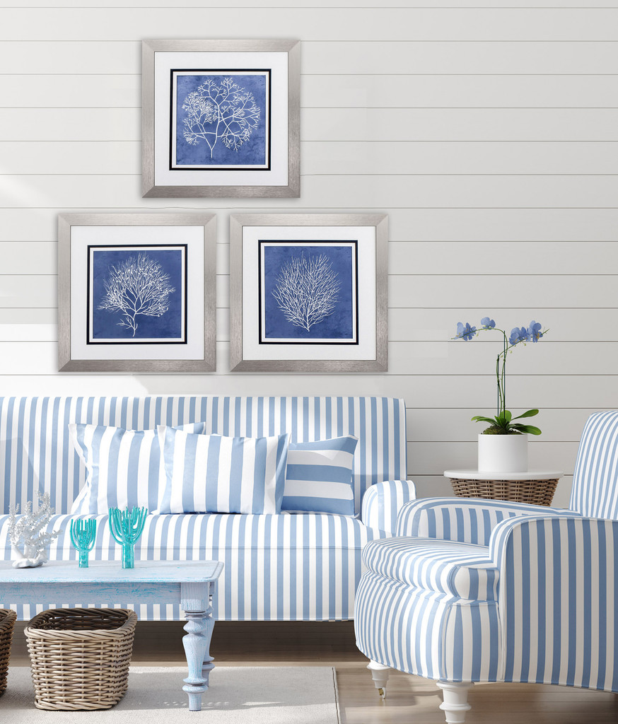 Blue Coral Silhouettes - Set of Three room example