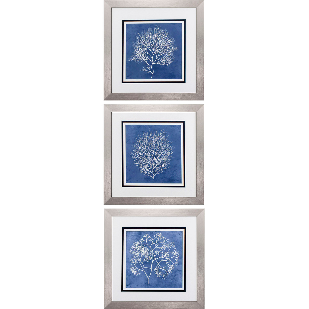 Blue Coral Silhouettes - Set of Three