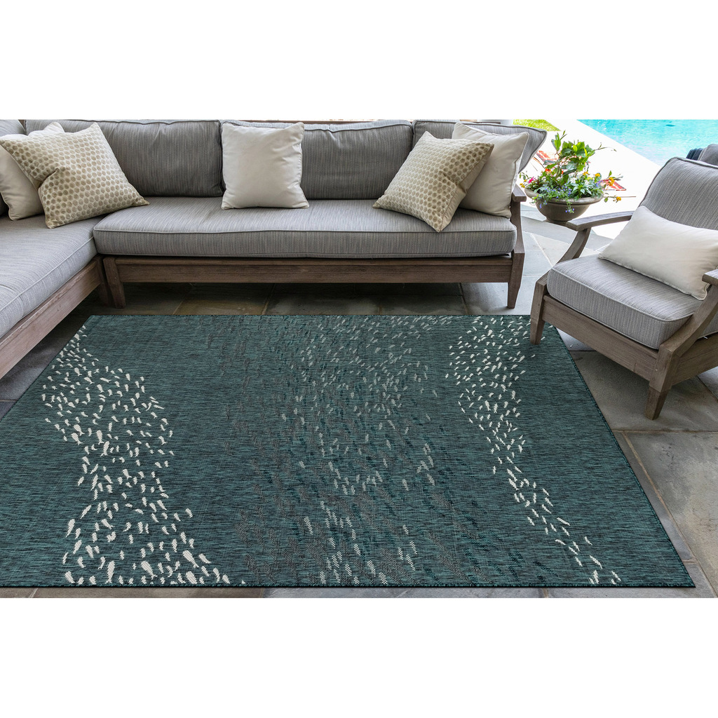 Teal Blue School of Fish Carmel Rug outdoor view