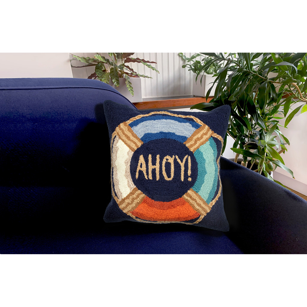 Colorful Ahoy Indoor-Outdoor Pillow Navy Pillow on sofa