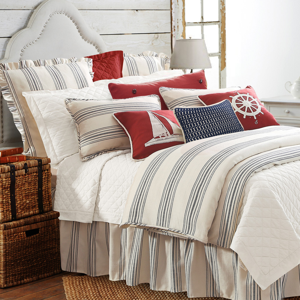Prescott Navy Ticking Striped King Size Set shown with accessories