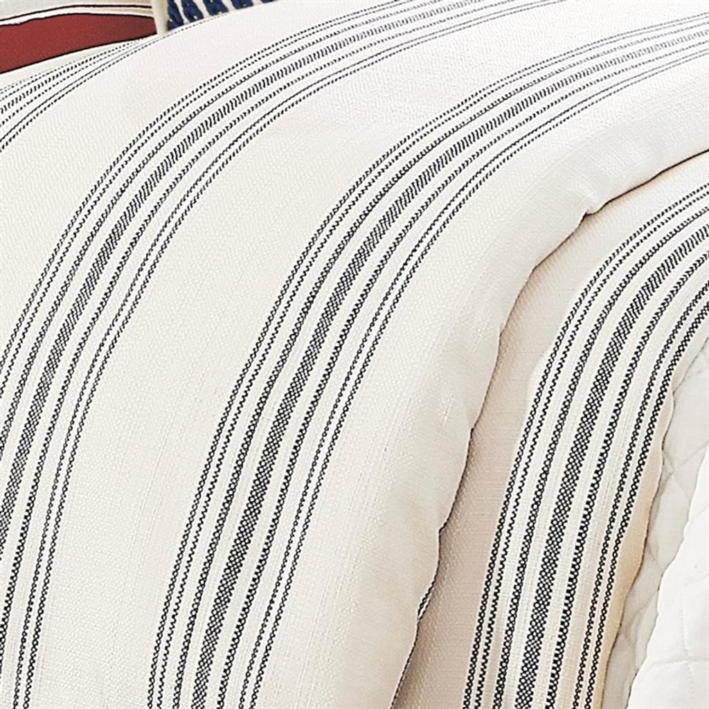 close up Prescott Navy Ticking Striped Comforter King Size Set
