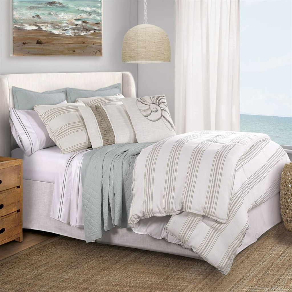 Prescott Taupe and Cream Ticking Striped king Pillow Shams with bedding