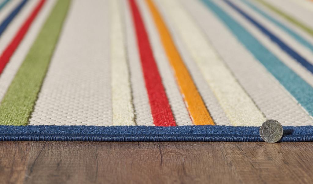 Bright Seaside Stripes Hi-Lo Rug edge