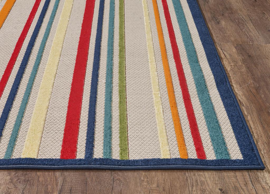 Bright Seaside Stripes Hi-Lo Rug corner