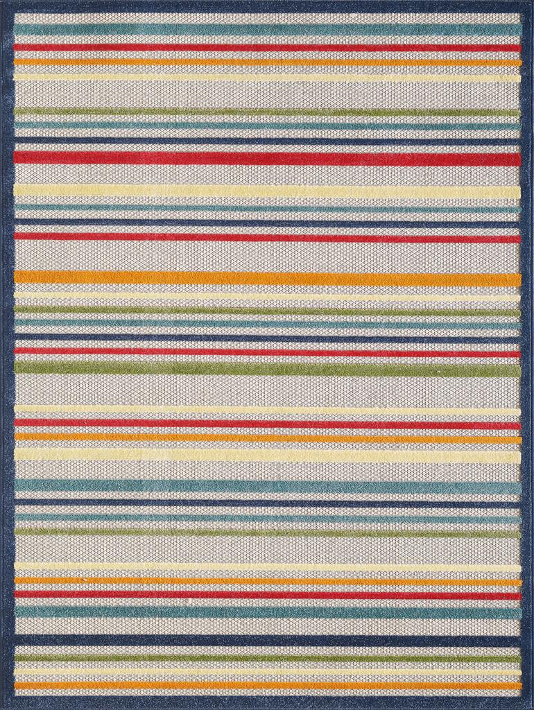 Bright Seaside Stripes Hi-Lo Rug larger sizes